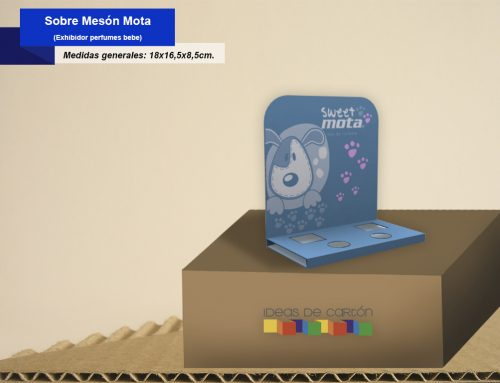Exhibidor sobre meson Mota